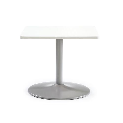 【廃番】会議用テーブル 正方形天板 750mm角 ETS-750K W750×D750×H720(mm) 1本脚テーブル シルバー塗装脚のメイン画像