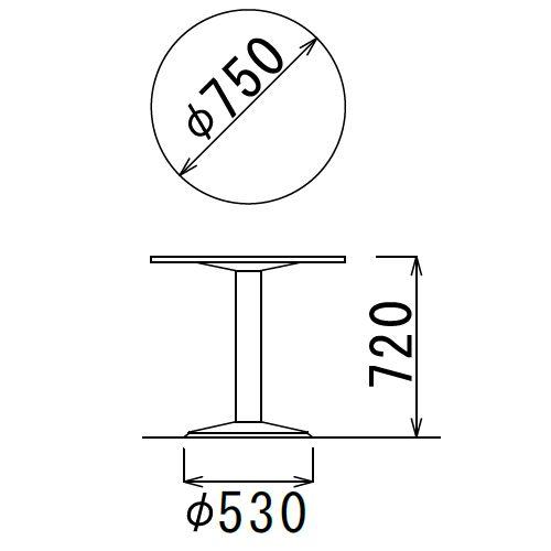 【廃番】会議用テーブル 円形天板 750φ ETS-750R W750×D750×H720(mm) 1本脚テーブル シルバー塗装脚商品画像3