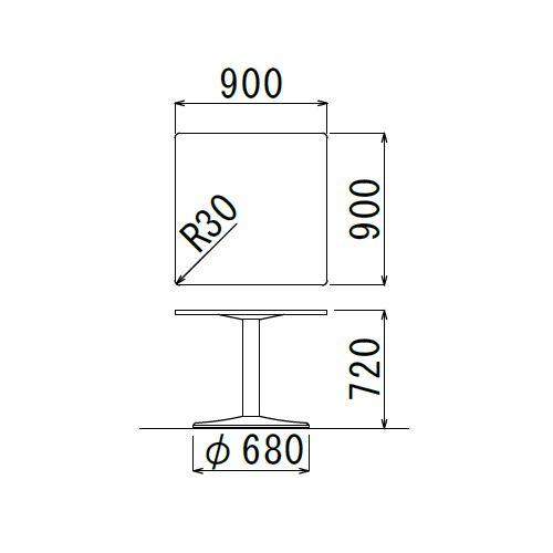 【廃番】会議用テーブル 正方形天板 900mm角 ETS-900K W900×D900×H720(mm) 1本脚テーブル シルバー塗装脚商品画像2