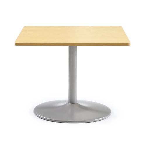 【廃番】会議用テーブル 正方形天板 900mm角 ETS-900K W900×D900×H720(mm) 1本脚テーブル シルバー塗装脚のメイン画像