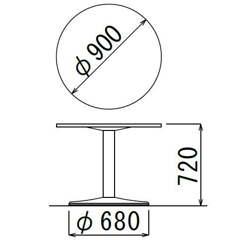 会議用テーブル アイコ 円形天板 900φ ETS-900R W900×D900×H720(mm) 1本脚テーブル シルバー塗装脚商品画像3