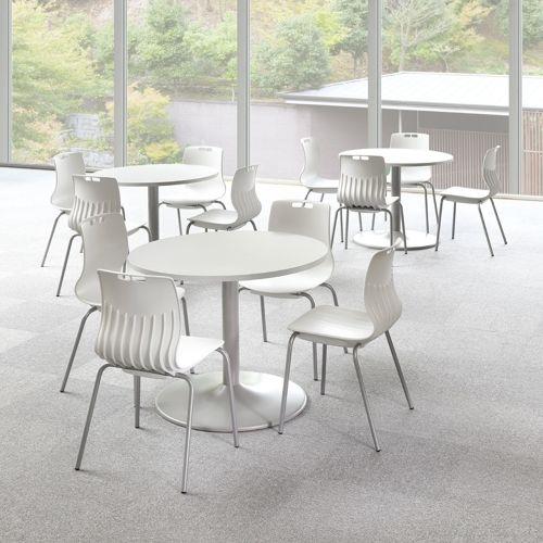 会議用テーブル アイコ 円形天板 900φ ETS-900R W900×D900×H720(mm) 1本脚テーブル シルバー塗装脚商品画像5