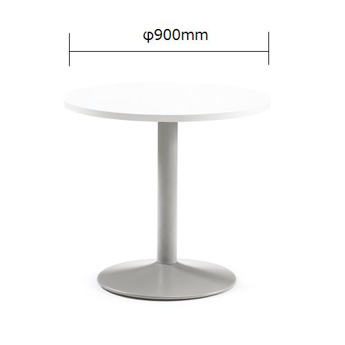 会議用テーブル アイコ 円形天板 900φ ETS-900R W900×D900×H720(mm) 1本脚テーブル シルバー塗装脚のメイン画像