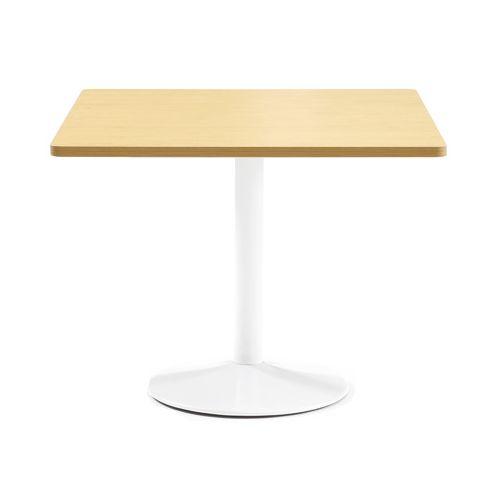 【廃番】会議用テーブル 正方形天板 900mm角 ETW-900K W900×D900×H720(mm) 1本脚テーブル ホワイト塗装脚のメイン画像