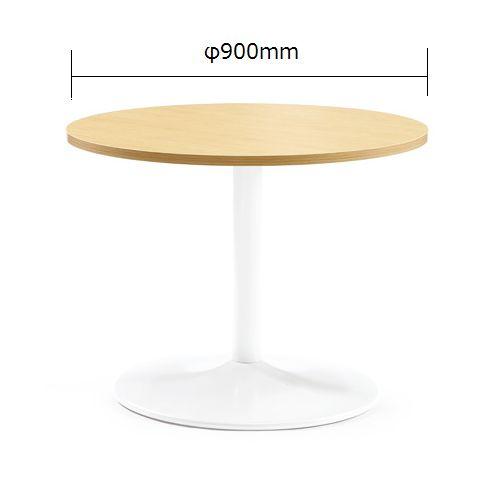 会議用テーブル アイコ 円形天板 900φ ETW-900R W900×D900×H720(mm) 1本脚テーブル ホワイト塗装脚のメイン画像