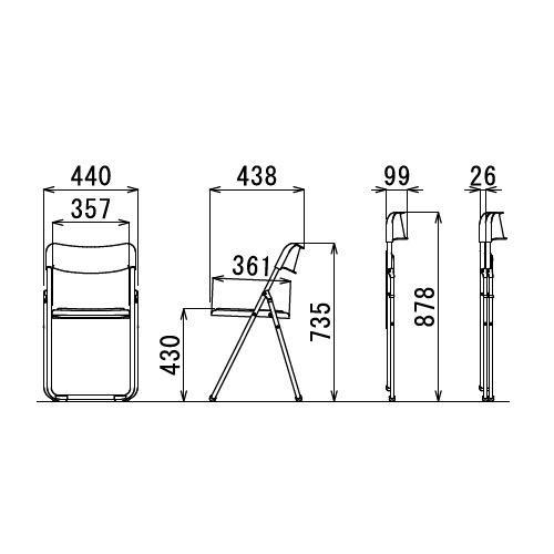 スライド式折りたたみ椅子 アイコ アルミパイプ FCA-19S フラット収納チェア商品画像6
