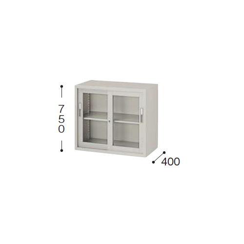 スチール書庫 A4書類対応 ガラス引き違い戸書庫 2段 HG308-AW W880×D400×H750(mm)のメイン画像
