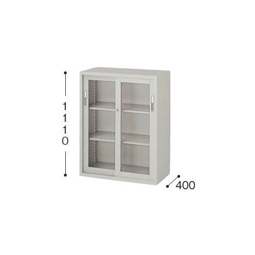 スチール書庫 A4書類対応 ガラス引き違い戸書庫 3段 HG311-AW W880×D400×H1110(mm)のメイン画像
