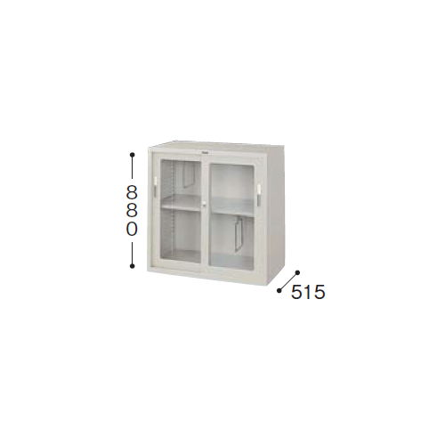 スチール書庫 ガラス戸 奥深引き違い書庫 HG337-AW W880×D515×H880(mm)のメイン画像