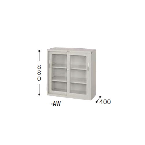 スチール書庫 ナイキ ガラス引き違い戸 3×3型書庫 HG33J-AW W880×D400×H880(mm)のメイン画像