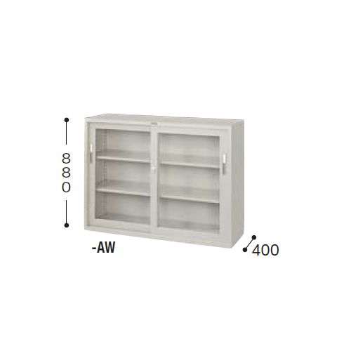 【WEB販売休止中】スチール書庫 ナイキ ガラス引き違い戸 4×3型書庫 HG43-AW W1200×D400×H880(mm)のメイン画像