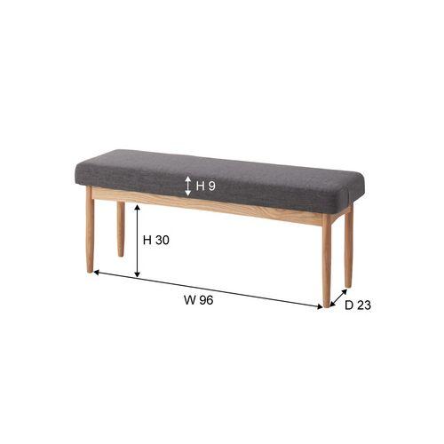 ベンチチェア エコモベンチ 北欧テイスト グレーカラー ファブリック張地 AZ-HOC-150GY商品画像2
