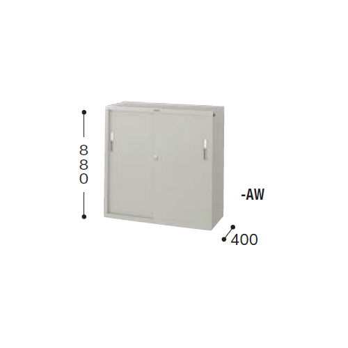 【WEB販売休止中】スチール書庫 ナイキ スチール引き違い戸 3×3型書庫 HS33J-AW W880×D400×H880(mm)のメイン画像