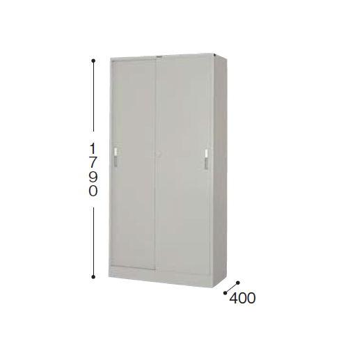 スチール書庫 スチール引き違い戸 一体型書庫 HS36J-AW W880×D400×H1790(mm)のメイン画像