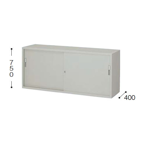 スチール書庫 ナイキ A4書類対応 スチール引き違い戸書庫 2段 HS608-AW W1760×D400×H750(mm)のメイン画像