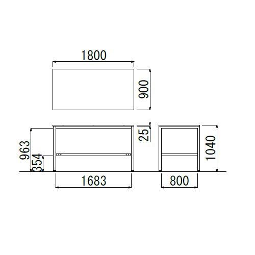 会議用テーブル ハイテーブル HTK-1890 W1800×D900×H1040(mm) シルバー塗装脚 4本脚テーブル アジャスター付商品画像3