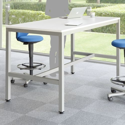 会議用テーブル ハイテーブル HTK-1890 W1800×D900×H1040(mm) シルバー塗装脚 4本脚テーブル アジャスター付商品画像5
