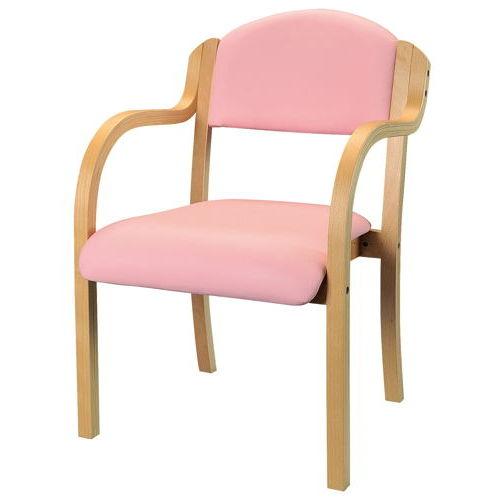 介護椅子 ナチュラルフレーム 丸背 木製チェア IKD-01 肘あり商品画像4
