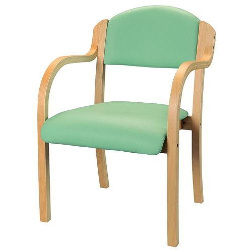 介護椅子 ナチュラルフレーム 丸背 木製チェア IKD-01 肘あり商品画像5
