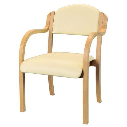 介護椅子 ナチュラルフレーム 丸背 木製チェア IKD-01 肘あり商品画像6