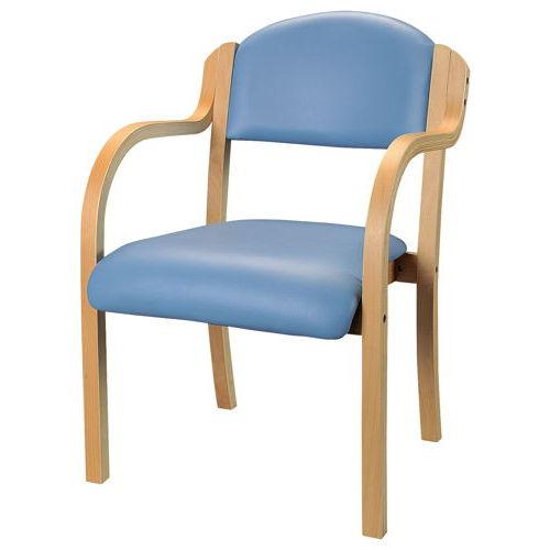 介護椅子 井上金庫(イノウエ) ナチュラルフレーム 丸背 木製チェア IKD-01 肘ありのメイン画像