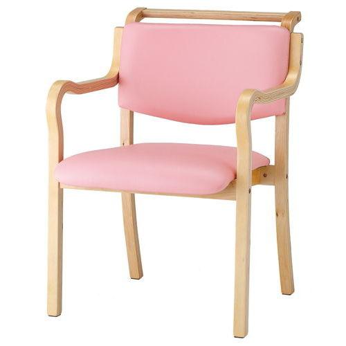 介護椅子 ナチュラルフレーム 角背 木製チェア 持ち手付き IKD-03 肘あり商品画像3