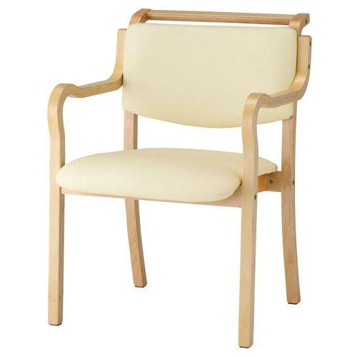 介護椅子 ナチュラルフレーム 角背 木製チェア 持ち手付き IKD-03 肘あり商品画像4