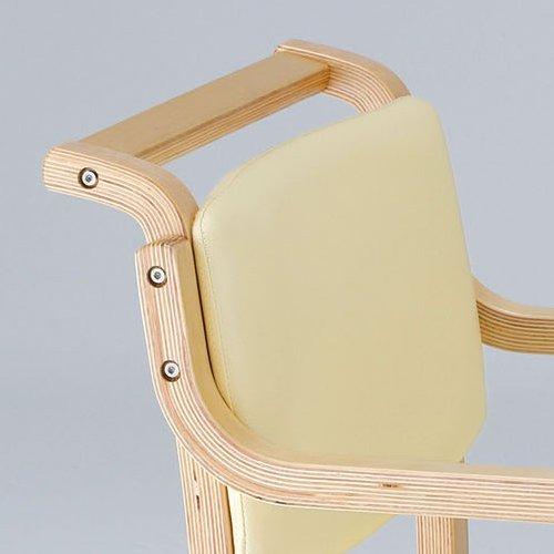 介護椅子 ナチュラルフレーム 角背 木製チェア 持ち手付き IKD-03 肘あり商品画像5
