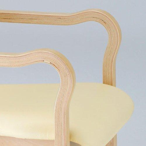 介護椅子 ナチュラルフレーム 角背 木製チェア 持ち手付き IKD-03 肘あり商品画像6