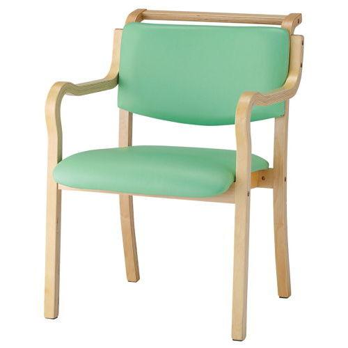 介護椅子 ナチュラルフレーム 角背 木製チェア 持ち手付き IKD-03 肘ありのメイン画像