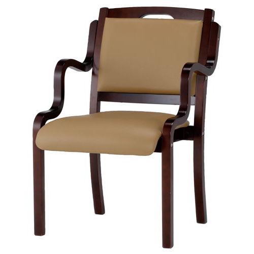 介護椅子 ダークブラウンフレーム 角背 木製チェア 手掛け付き IKD-04 肘あり商品画像3