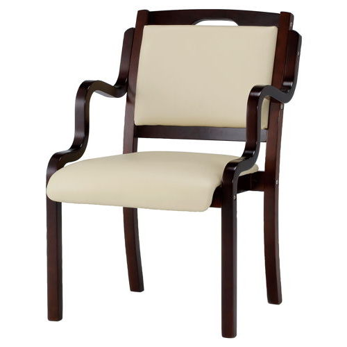 介護椅子 ダークブラウンフレーム 角背 木製チェア 手掛け付き IKD-04 肘あり商品画像4