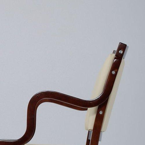 介護椅子 ダークブラウンフレーム 角背 木製チェア 手掛け付き IKD-04 肘あり商品画像5