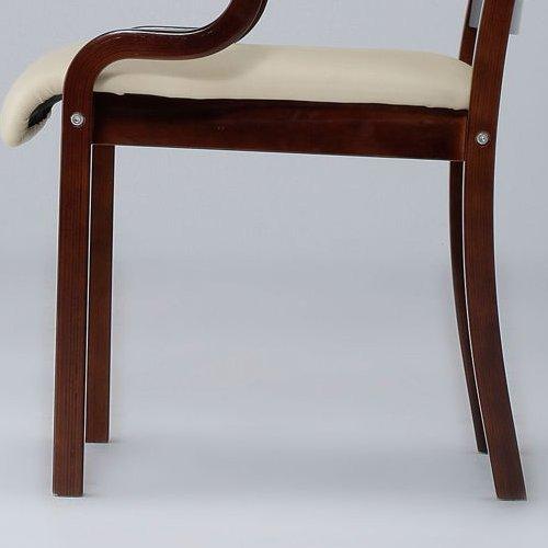 介護椅子 ダークブラウンフレーム 角背 木製チェア 手掛け付き IKD-04 肘あり商品画像6
