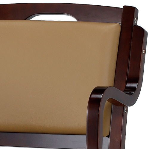 介護椅子 ダークブラウンフレーム 角背 木製チェア 手掛け付き IKD-04 肘あり商品画像7