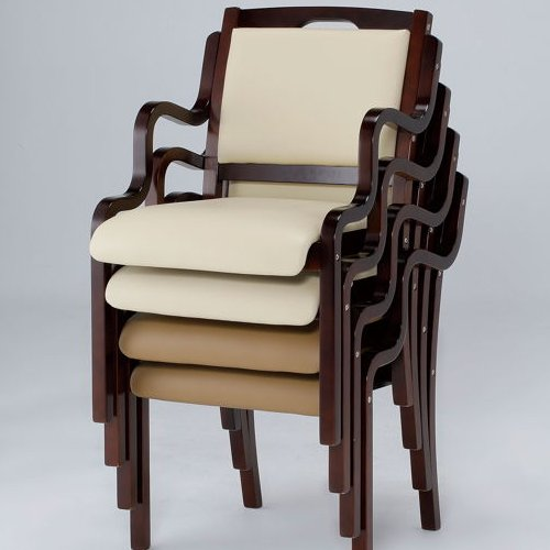 介護椅子 ダークブラウンフレーム 角背 木製チェア 手掛け付き IKD-04 肘あり商品画像9