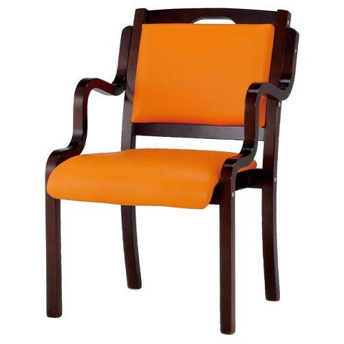 介護椅子 ダークブラウンフレーム 角背 木製チェア 手掛け付き IKD-04 肘ありのメイン画像