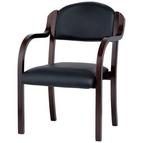 介護椅子 井上金庫(イノウエ) ダークブラウンフレーム 丸背 木製チェア IKD-B01 肘あり商品画像2