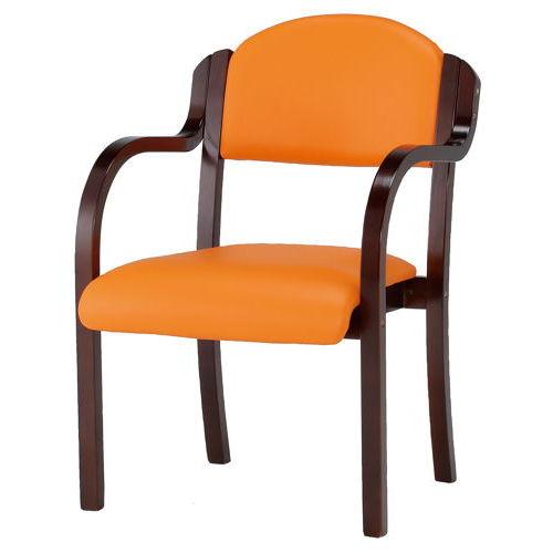 介護椅子 井上金庫(イノウエ) ダークブラウンフレーム 丸背 木製チェア IKD-B01 肘あり商品画像3