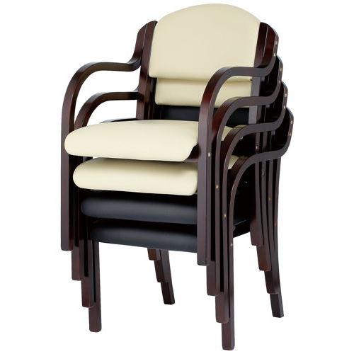 介護椅子 井上金庫(イノウエ) ダークブラウンフレーム 丸背 木製チェア IKD-B01 肘あり商品画像4