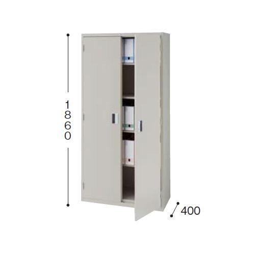 スチール書庫 A4書類対応 両開き戸 一体型書庫 K319-AW W880×D400×H1860(mm)のメイン画像