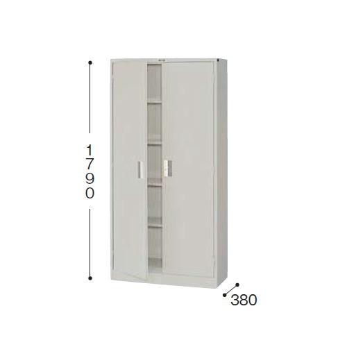 スチール書庫 両開き戸 一体型書庫 K366J-AW W880×D380×H1790(mm)のメイン画像