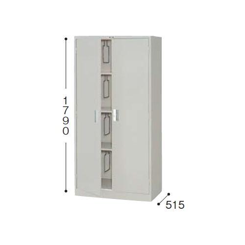 スチール書庫 奥深両開き書庫 棚板3枚(ブックサポーター付き) K367-AW W880×D515×H1790(mm)のメイン画像