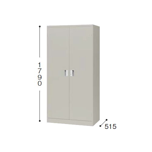 【WEB販売休止中】スチール書庫 ナイキ 奥深両開き書庫 棚板4枚 K367N-AW W880×D515×H1790(mm)のメイン画像