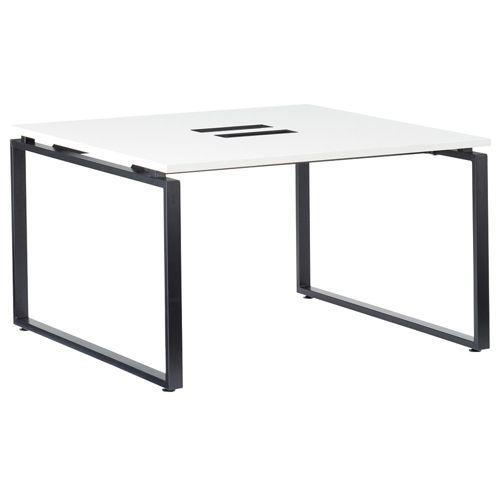会議用テーブル LPTB-1212 W1200×D1200×H720(mm) ブラックカラー粉体塗装スクエア脚テーブル コードホール付き商品画像2