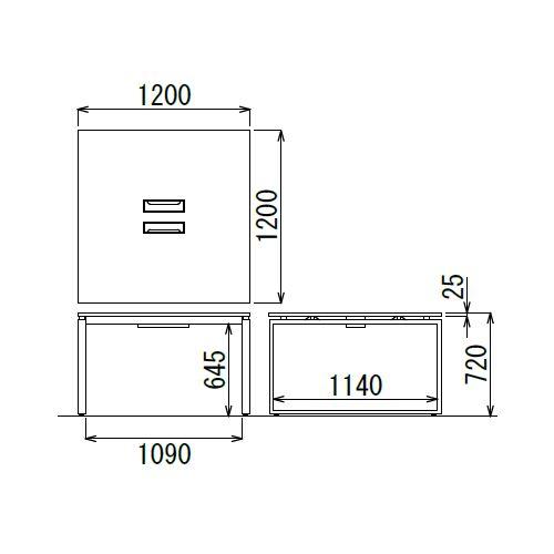 会議用テーブル LPTB-1212 W1200×D1200×H720(mm) ブラックカラー粉体塗装スクエア脚テーブル コードホール付き商品画像4
