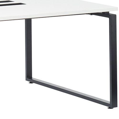 会議用テーブル LPTB-1212 W1200×D1200×H720(mm) ブラックカラー粉体塗装スクエア脚テーブル コードホール付き商品画像9