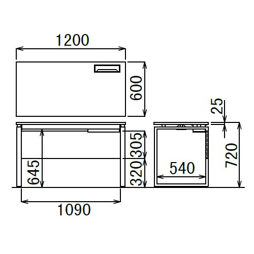 ワークテーブル LPTB-1260 W1200×D600×H720(mm) ブラックカラー粉体塗装スクエア脚テーブル 幕板付き コードホール付き商品画像4