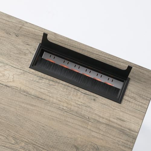 ワークテーブル LPTB-1260 W1200×D600×H720(mm) ブラックカラー粉体塗装スクエア脚テーブル 幕板付き コードホール付き商品画像5