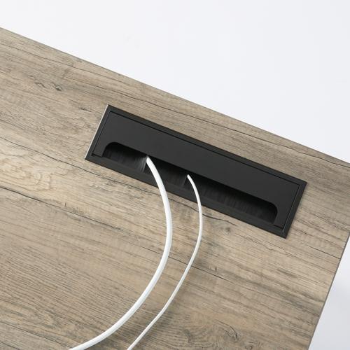 ワークテーブル LPTB-1260 W1200×D600×H720(mm) ブラックカラー粉体塗装スクエア脚テーブル 幕板付き コードホール付き商品画像6